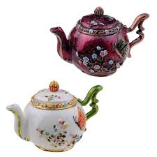 Teapot bejeweled <b>trinket</b> box jeweled jewelry box enamel <b>pewter</b> ...