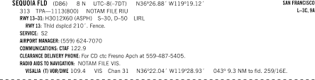 Sequ Airport Charts D86 Sequoia Field Airport Skyvector