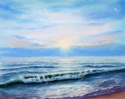 original oil painting showing ocean or sea s or beach on canvas modern impressionism