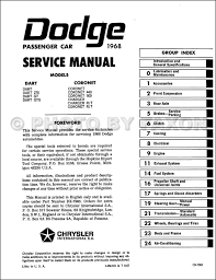 1968 dodge charger coronet dart repair shop manual reprint table of contents