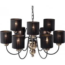 garbo large 9 light chandelier fitting in bronze finish with black string shades