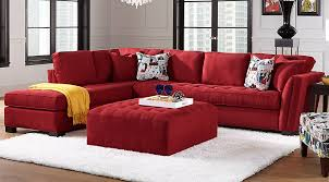 Decorating with red furniture Interior Design Cindy Crawford Living Room Set Red Tufted Sectional With Chaise Comic Printed Accent Pillows Matching Red Tufted Ottoman Furniturecom Black Gray Red Living Room Furniture Decorating Ideas