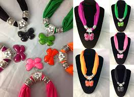 2016 newest short jewelry beads scarf with erfly pendant