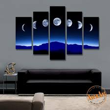 2018 5 panel dark moon picture mountain night landscape painting for bedroom wall art canvas prints no frame from asenart 38 36 dhgate com