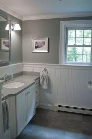 white beadboard bathroom. New England Bathroom Design. Custom By PNB. Porcelain Stone Look Tile, White Beadboard Pinterest