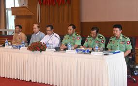 u kyaw tint swe third from left discusses at talks on revision and preparation for union peace conference photo mna