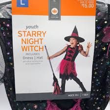 Girls Starry Witch Halloween Costume Large 10 Age Nwt
