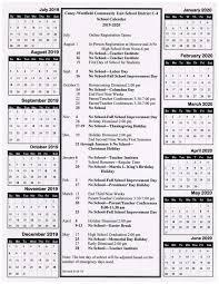 Image Of 2020 Calendar 2019 2020 School Calendar Casey Westfield Jr Sr High School
