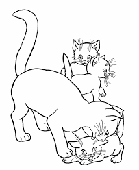 Small Picture Cat Coloring Pages Printable Mother Cat and kittens Coloring