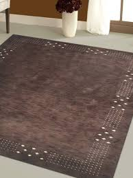 rugsotic carpets hand knotted loom wool 8 x10 area rug solid brown l00530