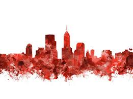 indianapolis painting indianapolis skyline watercolor red by bekim art