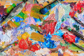 colourful oil paint diffe types of brushes and palette knife on palette photo by marythepooh
