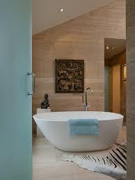zebra skin rug bathroom modern with bathroom tile ceiling lighting floor tile freestanding