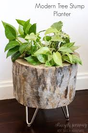 Creative DIY Planters -Modern Tree Stump Planter - Best Do It Yourself  Planters and Crafts