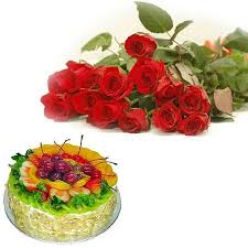 Buy Fruits Cake With Flowers Birthday Wishes Gifts Online Best
