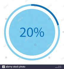 Pie Chart 20 Vector Illustration Blue Round Circle Pie Graph Chart With