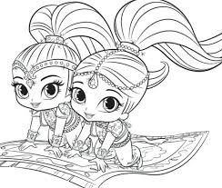 Shimmer And Shine Coloring Sheets From Pages Dinosaur