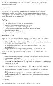 Resume Templates: Tour Manager