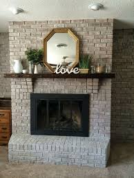 white washing brick with gray beige walking with dancers the family room fireplace update