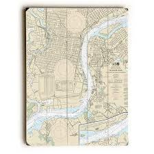 Tide Chart Nj Delaware River Longshore Tides Pa Nj Delaware River Philadelphia Pa Camden Nj Nautical Chart Sign Graphic Art Print On Wood