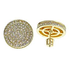 huge 19mm round hip hop earrings iced out gold tone back micro pave mens