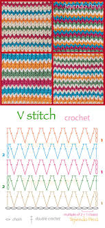 V Stitch Crochet Pattern Amazing Crochet V Stitch Pattern Diagram Or Chart Puntos Fantasía En