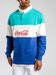 coca cola long sleevel rugby polo in teal new share