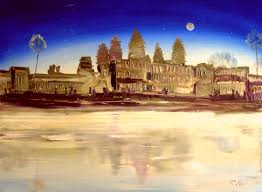 angkor wat in the moonlight oil painting seebauer