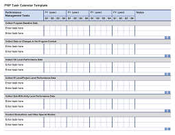 Calendar Template With Picture Pmp Task Calendar Template Program Cycle Project Starter