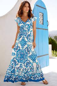 Light Blue And White Dress Blue Tile Maxi Dress Dresses Light Blue Dresses Floral
