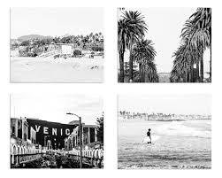 los angeles prints black and white print set los angeles photography venice beach santa monica hollywood sign surf decor la wall art