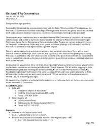 Sample National Ffa Convention Itinerary, Letter, And Packing List