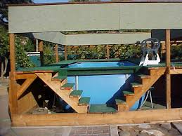 Pool Backyard Designs Amazing Wooden Style Double Stairs Above