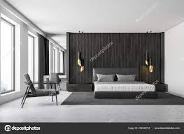 Concrete Floor Bedroom Design Black Wood Walls Master Bedroom Interior Concrete Floor Loft