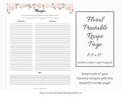 Full Page Recipe Templates Editable Printable Recipe Page Blank Recipe Template 8 5 X
