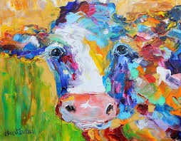 abstract cow painting sweet cow by karen tarlton