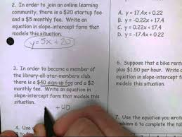 11 16 lifework slope intercept form word problems