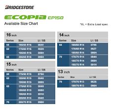 R13 Size Chart Ecopia Tyres Best Fuel Efficient Tyres Bridgestone Mea