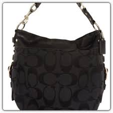 COACH Signature Zoe Large Shoulder Bag Black