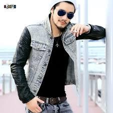 fashion men s denim jacket with leather sleeves slim fit vintage patchwork acid washed jean jacket for men canada 2019 from junqingy cad 47 04 dhgate