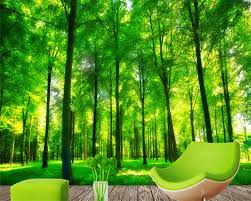 Beibehang De Muurschilderingen Op De Muur Behang 3 D Mode Bos Groen