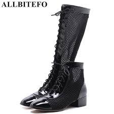 allbitefo patent leather net ventilation thick heel summer women boots high heels women shoes girls