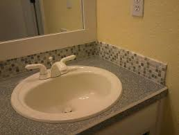 glass subway tile backsplash bathroom home design ideas