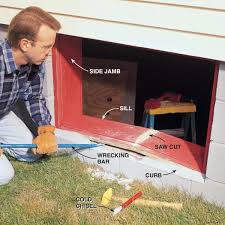 pry out the old basement window jamb with a wrecking bar first cut the wood sill with a handsaw or circular saw be careful not to cut all the way through