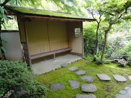 then awaits the host's call in the waiting arbor (the tsukubai is hidden by