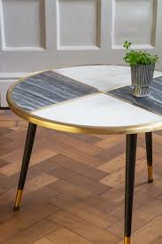 white brass inlay round coffee table