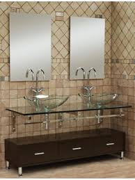 furniture brilliant bathroom vanities with double vessel sinks using clear round vessel basin on floating glass