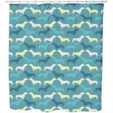 dachshund petrol shower curtain