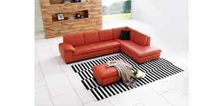 modern pumpkin color full top grain italian leather sectional 625