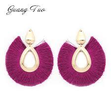 ES2127 <b>19 Colors Fashion</b> Tassel Earrings <b>Bohemian</b> Big Sector ...